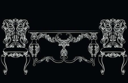 refinement: Fabulous Rich Baroque Rococo chair and table set. French Luxury rich carved ornaments furniture. Vector Victorian exquisite Style ornamented wooden furniture Illustration