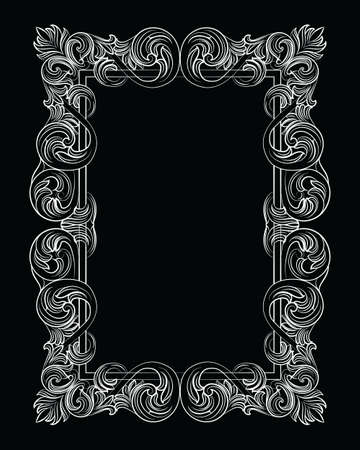 supreme: Vintage Imperial Baroque Rococo frame. Vector French Luxury rich carved ornamented Wall Frame. Victorian wealthy Style structure