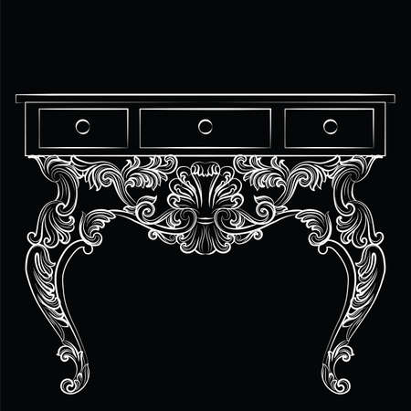refinement: Rich Baroque Table. French Luxury rich carved ornaments furniture. Vector Victorian Royal Style furniture. Black background Illustration