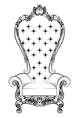 refinement: Baroque luxury style armchair furniture. Throne with luxurious rich ornaments. French Luxury rich carved ornaments decoration. Vector Victorian exquisite Style furniture. Vector sketch
