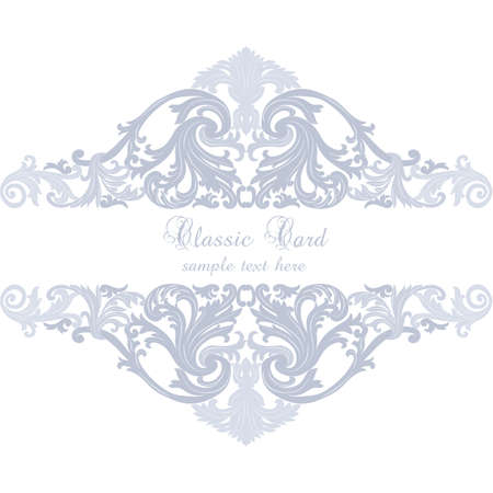 revive: Vintage Invitation Card or banner with Luxurious Baroque ornament. Serenity blue color