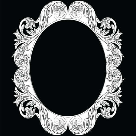 Vintage Imperial Baroque Rococo round frame. Vector French Luxury rich carved ornamented Wall Frame. Victorian wealthy Style structure