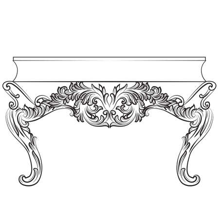 baroque furniture: Rich Baroque commode Table with drawers. French Luxury rich carved ornaments decorated furniture. Vector Victorian Royal Style table furniture Illustration