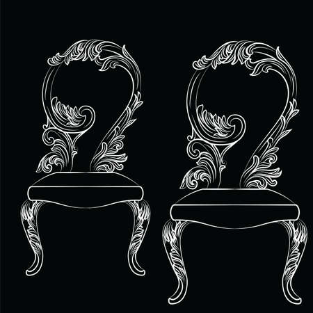baroque furniture: Baroque luxury style chair isolated Vector. Elegant sketch with luxurious rich ornaments. French Luxury rich carved decorations. Vintage Victorian exquisite Style furniture