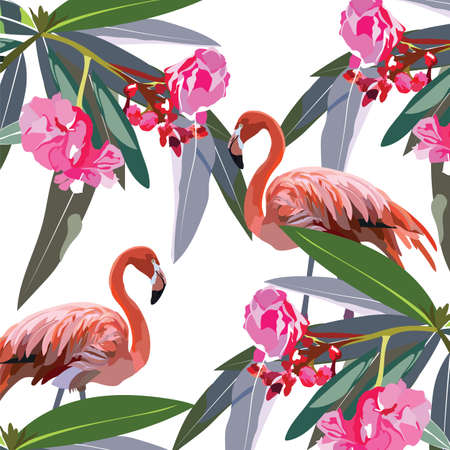 subtropics: Flamingo birds and tropic flowers Vector card. Tropic Exotic pattern background