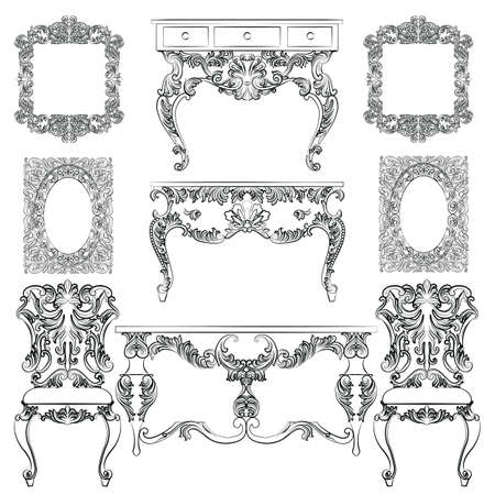antique furniture: Vector collection of Baroque style furniture. Vintage Vector set of Antique Royal furniture. different rich detailed ornamented elements Illustration