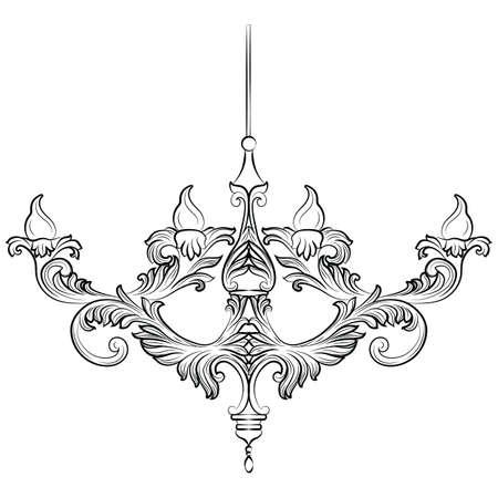 chandelier background: Exquisite Rich Baroque Classic chandelier. Luxury decor accessory design. Vector illustration sketch