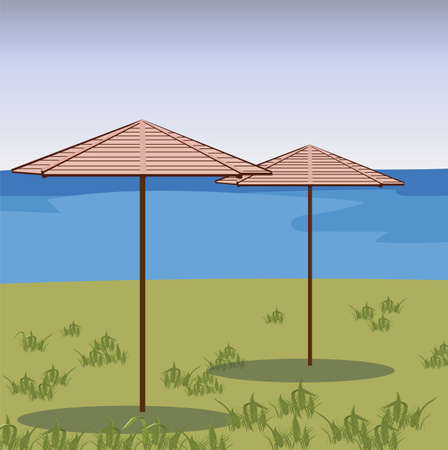 breezy: Two Umbrellas in a green field. Vector beach background. Relaxing view on a breezy day at the tropical beach Illustration