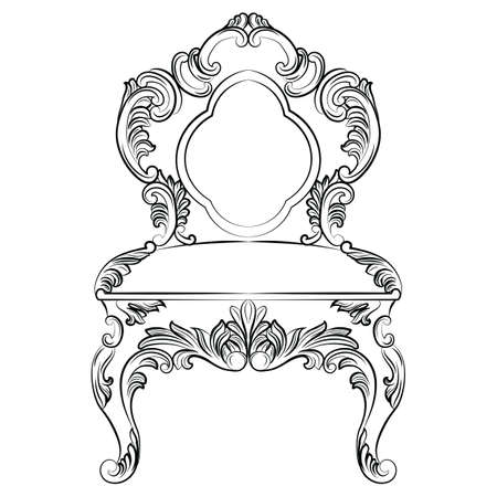 aristocracy: Baroque luxury style chair. Elegant furnishing  with luxurious rich ornaments. French Luxury rich carved decoration. Vector Victorian exquisite Style furniture Illustration