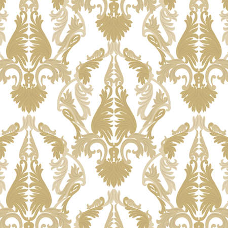 rococo: Vintage Rococo ornament pattern. Vector damask decor. Royal Victorian texture for wallpapers, textile, fabric. Golden color