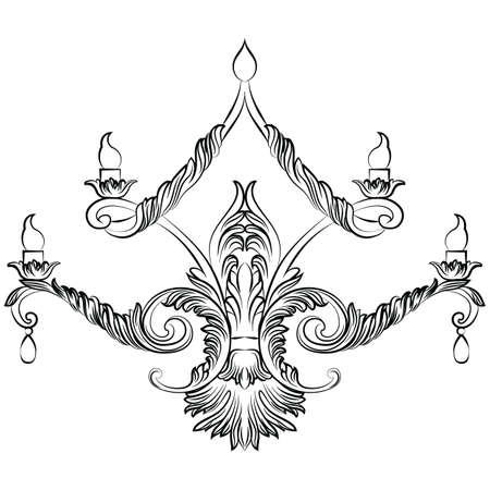 baroque room: Rich Baroque Classic chandelier. Luxury decor accessory design. Vector illustration sketch Illustration