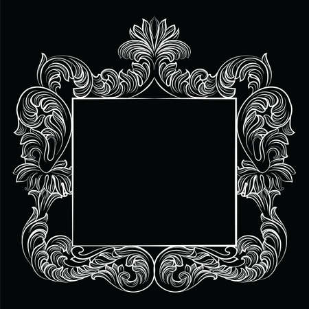 aristocracy: Vintage Imperial Baroque Rococo frame. Vector French Luxury rich carved ornamented decor. Victorian wealthy Style structure