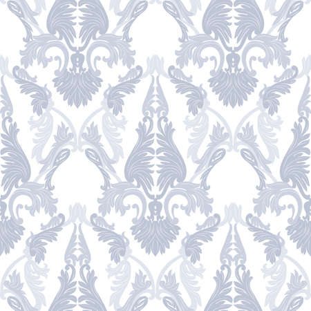revive: Vintage Rococo ornament pattern. Vector damask decor. Royal Victorian texture for wallpapers, textile, fabric. Blue serenity color Illustration