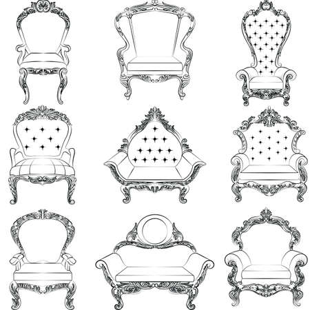 console table: Baroque luxury style armchair furniture set collection. Upholstery with luxurious rich ornaments. French Luxury rich carved ornaments decoration. Vector Victorian exquisite Style furniture