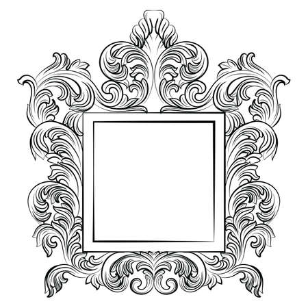 ornamented: Vintage Imperial Baroque Rococo frame. Vector French Luxury rich carved ornamented decor. Victorian wealthy Style structure