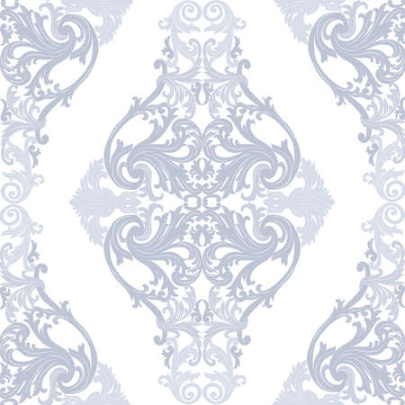 revive: Vector Baroque Vintage floral Damask pattern. Luxury Classic ornament, Royal Victorian texture for wallpapers, textile, fabric. Serenity blue color Illustration