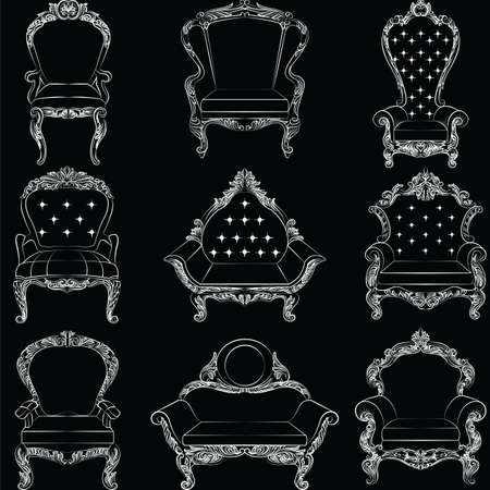 sophisticate: Baroque luxury style armchair furniture set collection. Upholstery with luxurious rich ornaments. French Luxury rich carved ornaments decoration. Vector Victorian exquisite Style furniture