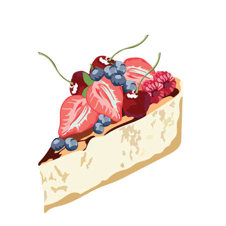 Cheesecake with fruits dessert delicious slice isolated Vector Illustration