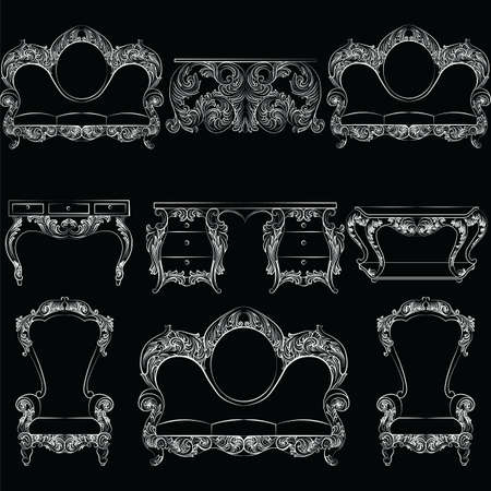 antique furniture: Vector collection of Baroque style armchairs furniture. Big Vector set of Antique Royal furniture. different rich detailed ornamented elements