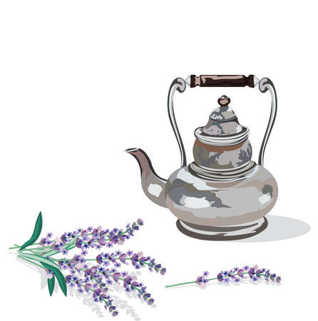provence: Vintage Kettle and lavender provence style Vector Illustration