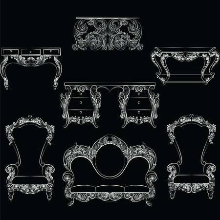 the aristocracy: Fabulous Rich Baroque Rococo furniture set. French Luxury rich carved ornaments decorations. Vector Victorian exquisite Style ornamented wooden furniture and lamps