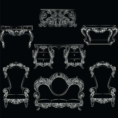 Zestaw mebli Fabulous Rich Baroque Rococo. Francuskie luksusowe rzeźbione ozdoby ozdobne. Wektor Wiktoriański wyśmienite Style zdobione drewniane meble i lampy Ilustracje wektorowe