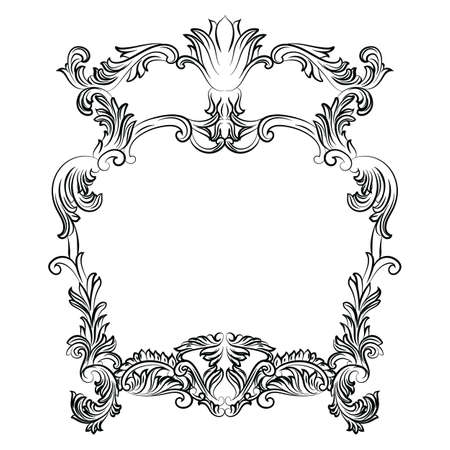 french style: Vintage Imperial Baroque Rococo frame. Vector French Luxury rich carved ornamented decor. Victorian wealthy Style structure