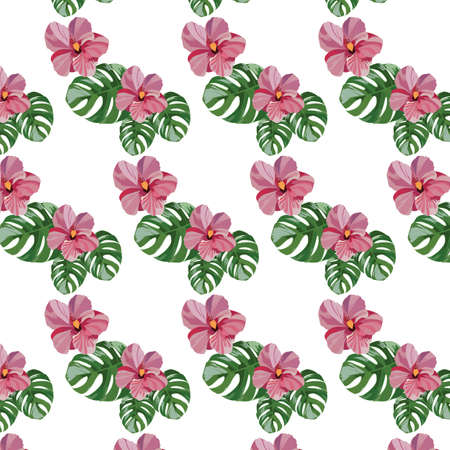 pistil: Tropical pink flowers pattern Vector. Exotic Summer floral background Illustration