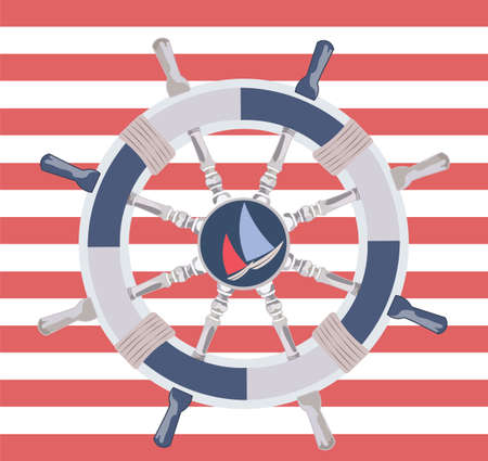 wheal: Ship steering wheal. Nautical wheel and striped background. Vector maritime theme Illustration