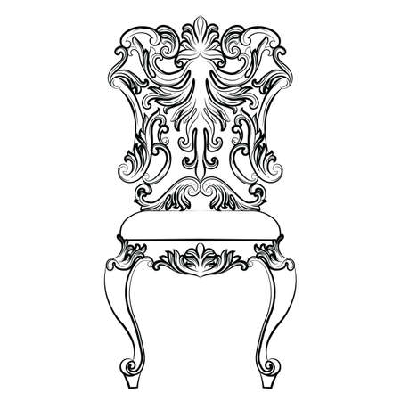 rococo: Fabulous Rich Baroque Rococo chair. French Luxury rich carved ornaments furniture. Vector Victorian exquisite Style ornamented wooden structure