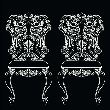 Fabulous Rich Baroque Rococo chair. French Luxury rich carved ornaments furniture. Vector Victorian exquisite Style ornamented wooden structure Векторная Иллюстрация