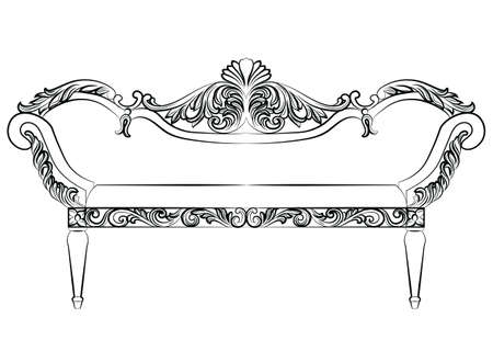 aristocracy: Baroque luxury style furniture. Bench with luxurious rich ornaments. French Luxury rich carved decoration. Vector Victorian exquisite Style structure