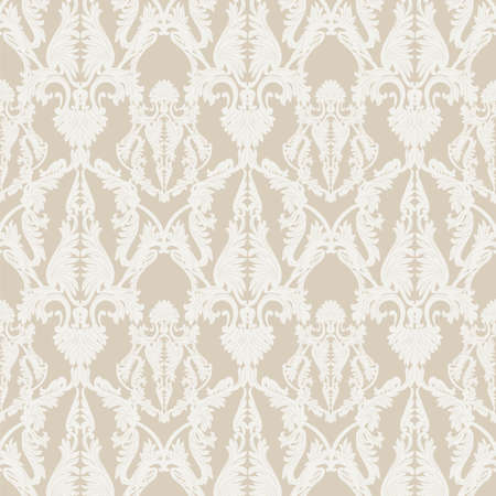 rococo: Vintage Rococo ornament pattern. Vector damask decor. Royal Victorian texture for wallpapers, textile, fabric. Cream color Illustration