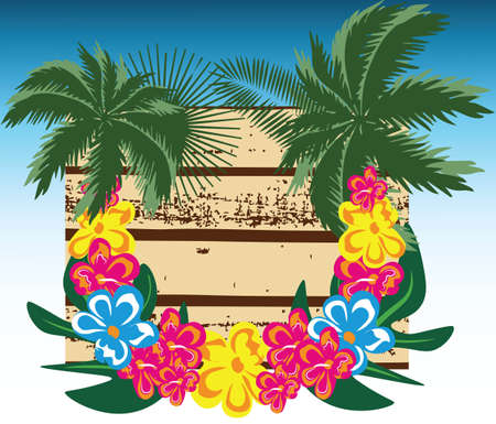 re: Summer Wood Board Vector. Card with Palm leaves and tropic flowers wreath. Hawaii exotic Card. Vector Holiday Tropical Exotic background