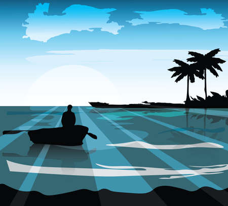 Sea island shore. Palm leaves on foreground Vector illustration. Sea waves in moonlight Vector. Boat sailing silhouette