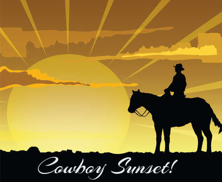 Cowboy silhouette sitting on horse at sunset . Vector illustration