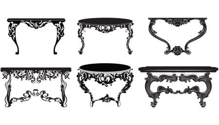 Vintage Baroque Table  set collection. Elegant furniture with luxurious rich ornaments. Vector Victorian exquisite Style