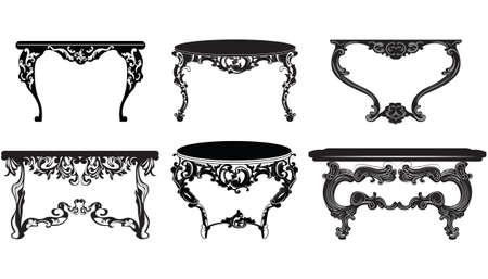 Weinlese-Barock Tisch gesetzt Sammlung. Eine elegante Einrichtung mit luxuriösen reichen Verzierungen. Vector viktorianischen Stil exquisite Vektorgrafik