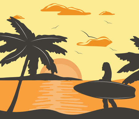 Summer Beach Vector with silhouette woman surfing