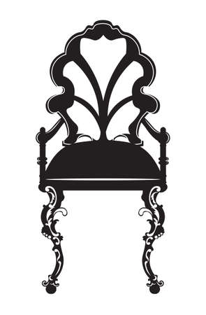 baroque room: Elegant chair with rich ornaments. French Luxury carved decoration. Vector Victorian exquisite Style furniture. Black color