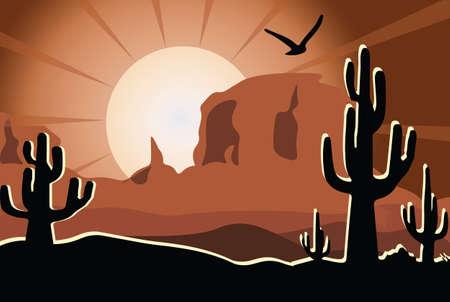 desert sunset: Cactus in the desert sunset. Vector illustration
