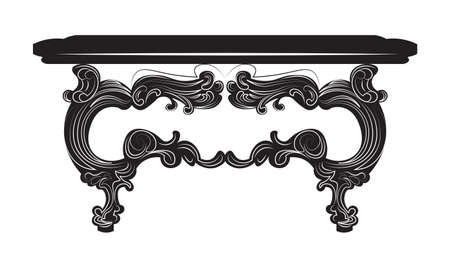 baroque furniture: Vintage Baroque Table. French Luxury rich carved ornaments decorated furniture. Vector Victorian Royal Style structure Illustration