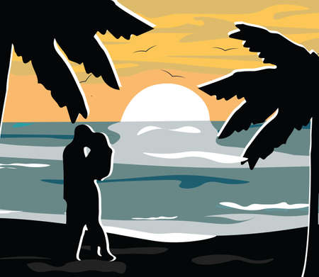 night view: Summer Night Beach view Card Vector. Romantic Couple and Palm Trees silhouette. Moonlight shine Illustration