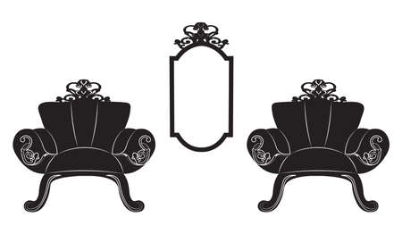Elegant Baroque luxury ornamented furniture set. Baroque style armchairs and table. Mirror frame decor. Vector sketch Illustration