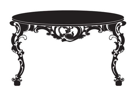 console table: Vintage Baroque round Table. French Luxury rich carved ornaments decorated furniture. Vector Victorian Royal Style structure Illustration