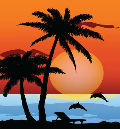 beach sunset: Summer Beach Sunset with palm trees vector