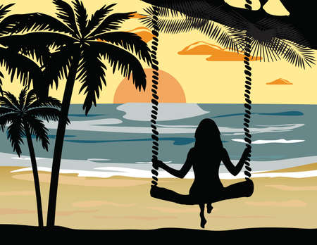 sunset on the beach: Summer Sunset Beach Vector with silhouette woman