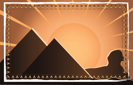 egyptian pyramids: Egyptian pyramids at sunset with bright sun Vector illustration