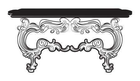 Vintage Baroque Table. French Luxury rich carved ornaments decorated furniture. Vector Victorian Royal Style structure Illustration