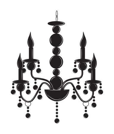 Rich Baroque Classic chandelier. Luxury decor accessory design. Vector illustration sketch Illustration